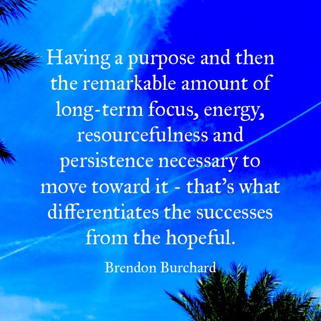 Having a purpose and then the remarkable amount of long-term focus, energy, resourcefulness and persistence necessary to move toward it - that's what differentiates the successes from the hopeful., Brendon Burchard, Motivation Manifesto